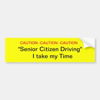 Caution Senior Citizen Driver Bumper Sticker