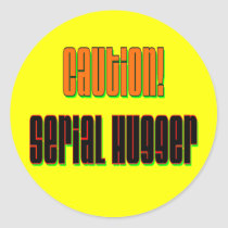 Caution Serial Hugger Stickers