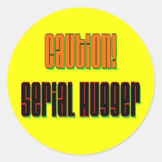 Caution Serial Hugger Stickers