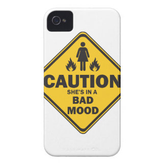 Caution She's in a Bad Mood iPhone 4 Case-Mate Case