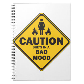 Caution She's in a Bad Mood Notebook