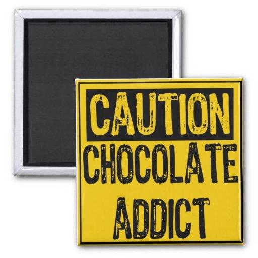 Caution Sign-Chocolate Addict Yellow/Black Refrigerator Magnet