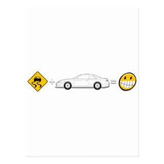 Caution Sign, Drift Silvia S14 is fun Postcard