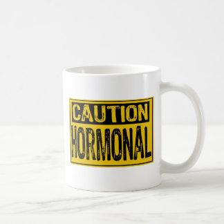 Caution Sign - Hormonal Yellow/Black Classic White Coffee Mug