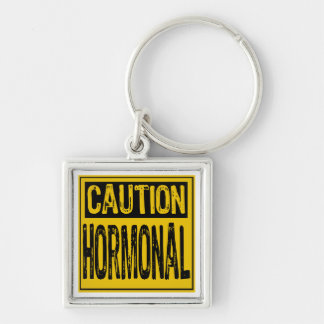 Caution Sign - Hormonal Yellow/Black Key Chains