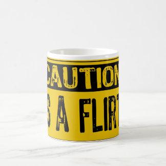 Caution Sign - Is A Flirt Yellow/Black Classic White Coffee Mug