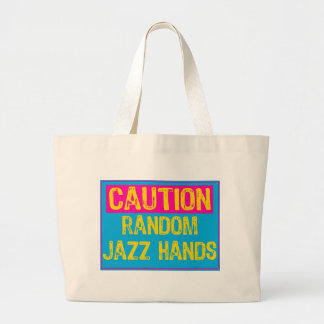 Caution Sign-Jazz Hands POP ART LT/Blue/Pik/Yellow Large Tote Bag