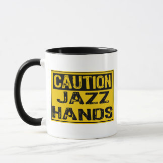 Caution Sign- Jazz Hands Yellow/Black Mug