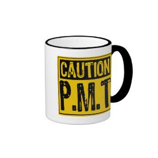 Caution Sign- P.M.T Yellow / Black Ringer Coffee Mug