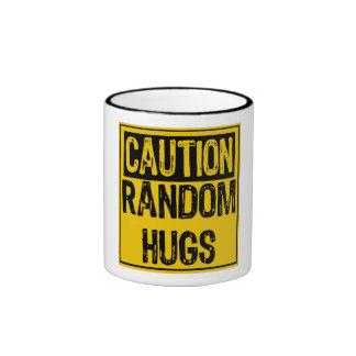 Caution Sign-Random Hugs Yellow/Black Ringer Coffee Mug