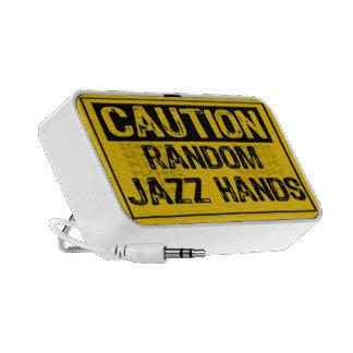 Caution Sign- Random Jazz Hands Yellow Black Laptop Speaker
