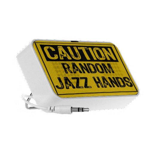 Caution Sign- Random Jazz Hands Yellow/Black Mini Speakers
