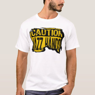 Caution Sign- Ripped Jazz Hands Yellow/Black T-Shirt
