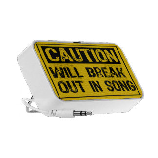 Caution Sign-Will Break Out In Song Yellow Black PC Speakers