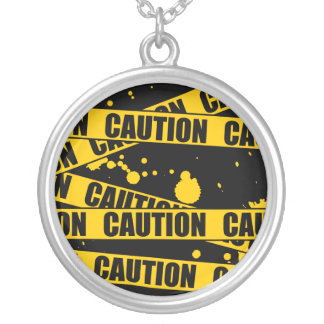 Caution! Silver Plated Necklace