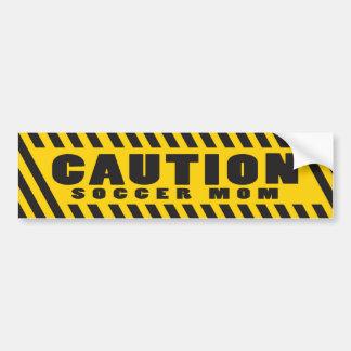 Caution Soccer Mom Bumper Sticker