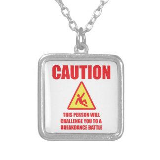 Caution Square Pendant Necklace