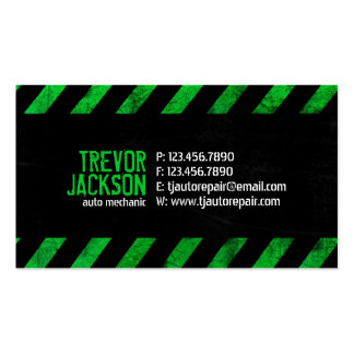 Caution Stripes - Green Double-Sided Standard Business Cards (Pack Of 100)