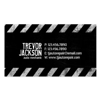 Caution Stripes - White Business Card