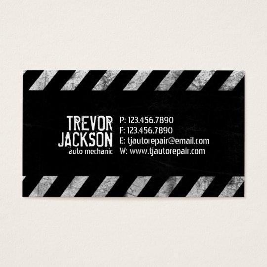 Caution Stripes - White Business Card