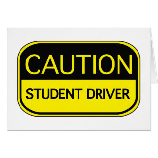 Caution Student Driver Cards