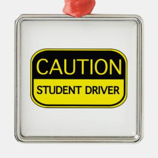 Caution Student Driver Square Metal Christmas Ornament