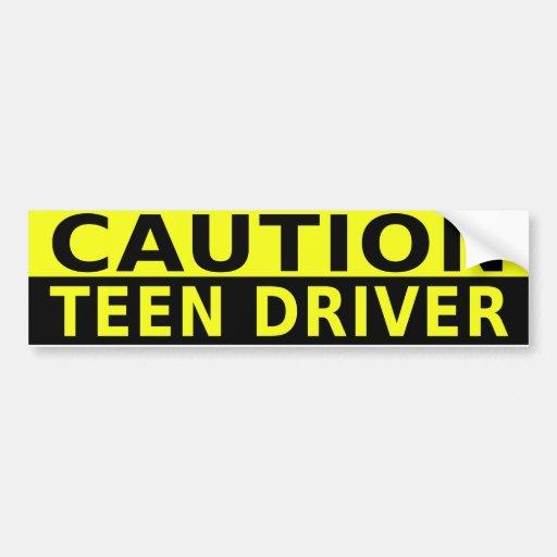 CAUTION TEEN DRIVER BUMPER STICKER