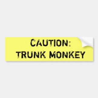 Caution: Trunk Monkey Bumper Sticker