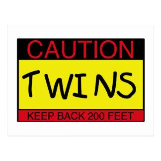 Caution Twins Postcard