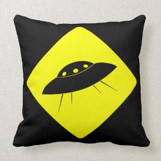 Caution UFO Throw Pillows