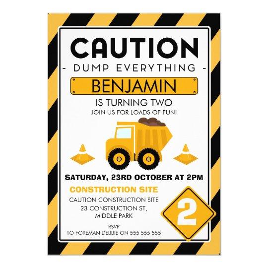 Caution Under Construction Birthday Invitation Zazzlecom