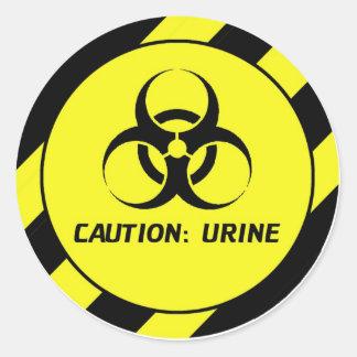 Caution Urine Classic Round Sticker