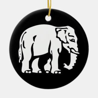 Caution White Elephant Crossing ⚠ Thai Road Sign ⚠ Ceramic Ornament