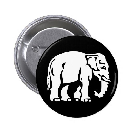 Caution White Elephant ⚠ Thai Sign ⚠ Pinback Buttons