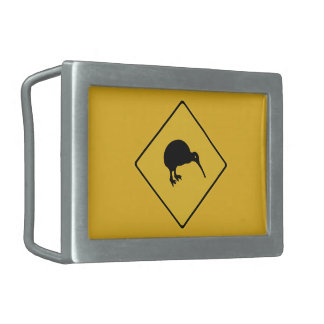 Caution With Kiwis, Traffic Sign, New Zealand Belt Buckle