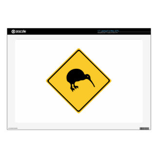 "Caution With Kiwis, Traffic Sign, New Zealand 17"" Laptop Skin"