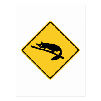 Caution With Possums 1, Traffic Warning Sign, AU Postcard