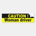 Caution, Woman Driver Car Bumper Sticker