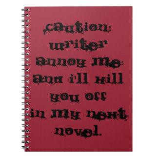 caution: writer notebook