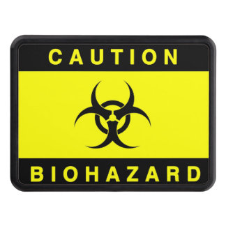 CAUTION YELLOW BIOHAZARD SIGN TRAILER HITCH COVER