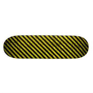 caution yellow black stripes under construction skateboard deck