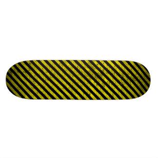 caution yellow black stripes under construction skateboard deck