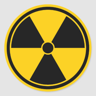 Caution Yellow Radiation Symbol Sticker