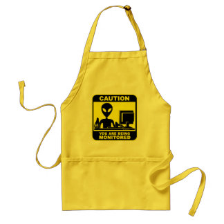 Caution! you are being monitored adult apron