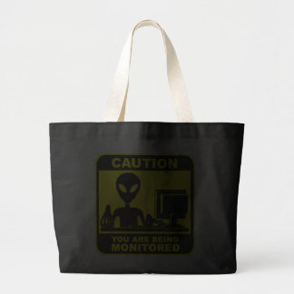 Caution! you are being monitored canvas bag