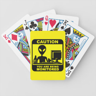 Caution! you are being monitored bicycle playing cards