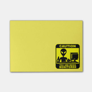 Caution! you are being monitored post-it notes