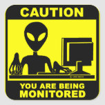 Caution! you are being monitored sticker