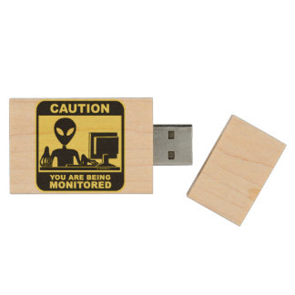 Caution! you are being monitored wood flash drive
