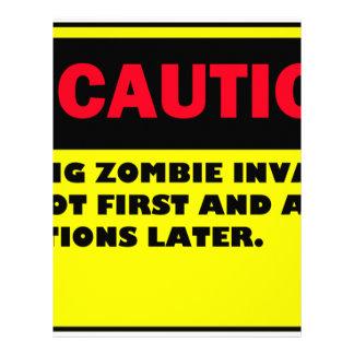 CAUTION ZOMBIE INVASION LETTERHEAD